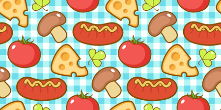 Snacks pattern with plaid. Stok Fotoğraf - 119808730