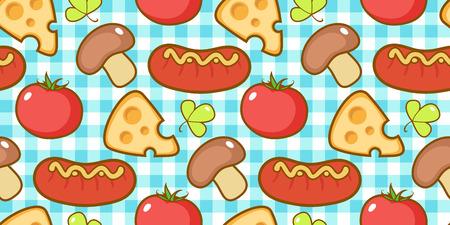 Snacks pattern with plaid. Illustration