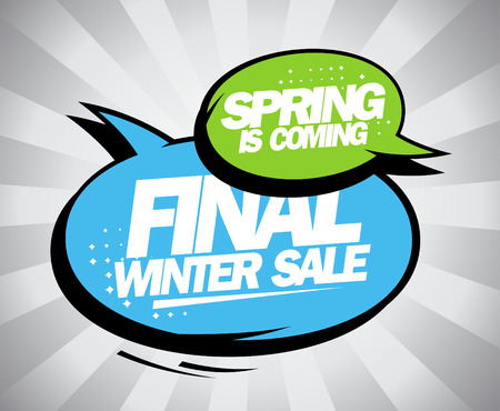 Final winter sale design with balloons in pop-art style.