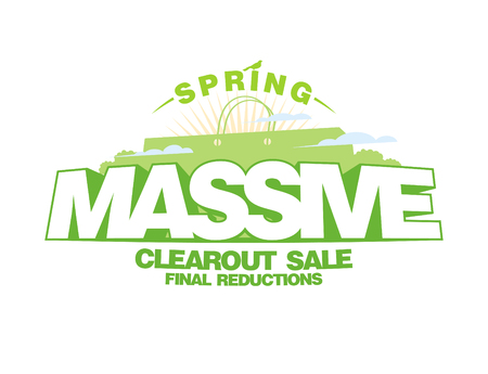 Massive spring sale design template with shopping bag Ilustrace