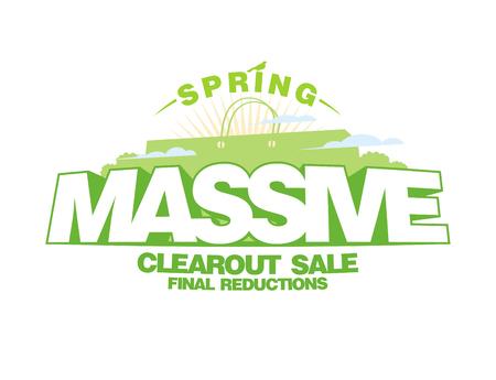 Massive spring sale design template with shopping bag Illustration