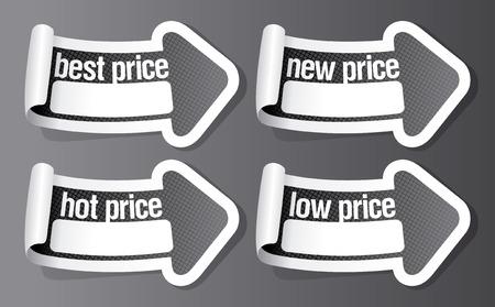 New best price stickers in form of arrow. Ilustração