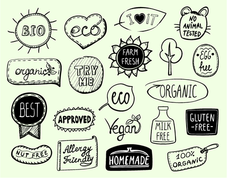 Set of doodle hand drawn eco symbols - bio, eco, organic, vegan, milk free, nut free, approved, homemade, egg free, best product, allergy friendly, try me, farm fresh, no animal tested Reklamní fotografie - 119808736