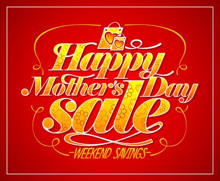 Happy Mothers day sale vector poster concept, weekend savings advertising banner Ilustração