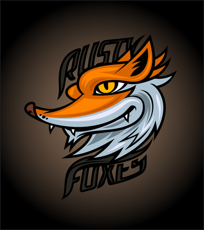 Rusty foxes logotype design concept on dark background, sport infographic team pictogram, t-shirt tee print
