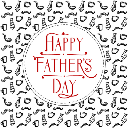 Happy Fathers day card design, doodle style backdrop with mustaches, cups and neckties