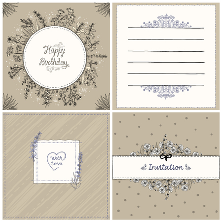 Floral cards set, herbal frames, vector hand drawn old style cards and frames collection, copy space for text