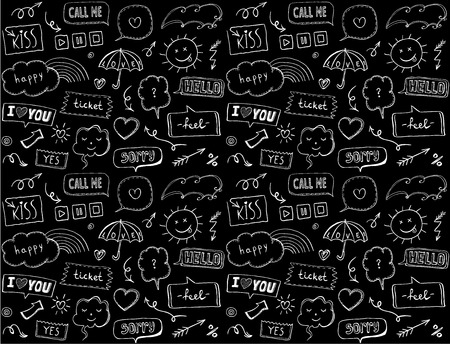 Seamless pattern with speech bubbles and comic style elements, love theme, doodle style hand drawn vector illustration
