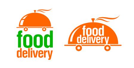 Set di cartelli o loghi per la consegna di cibo, simbolo della cloche veloce e calda su ruote