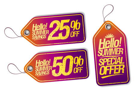 Vector tags set - hello summer, special offer, summer savings, 25% off, 50% off 矢量图像