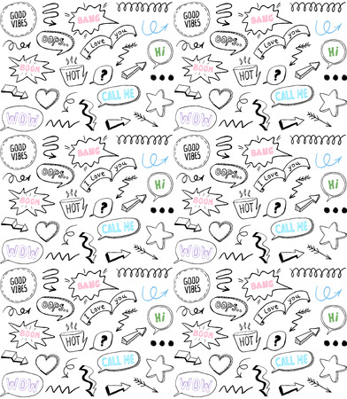 Doodle style seamless pattern with speech bubbles and comic style elements, hand drawn vector illustration