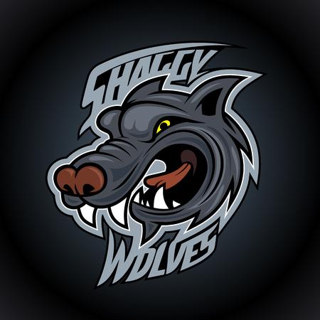 Shaggy wolves vector logo design concept on dark background, sport infographic team pictogram, t-shirt tee print