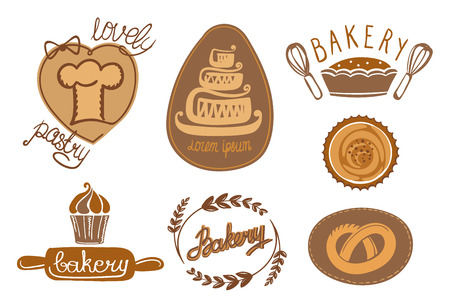 Bakery and pastry logos collection, hand drawn vector illustration