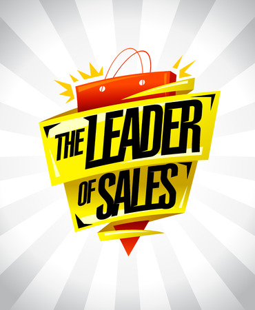The leader of sales, sale poster design concept with origami ribbons and big paper bag, vector illustration