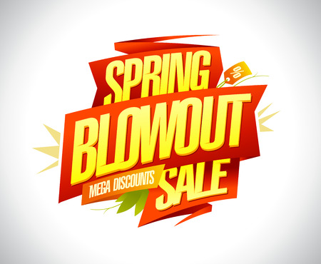 Spring blowout sale, mega discounts banner design concept