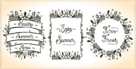 Vegetable frames set, , veggie elements, hand drawn graphic line illustration, vintage style. Enjoy summer, farm fresh, healthy summer menu design concept