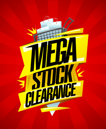 Mega stock clearance, sale banner design concept with shopping cart full of paper bags