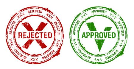 Impresiones de sellos de caucho aprobados y rechazados