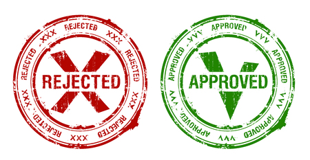 Approved and rejected rubber stamps imprints