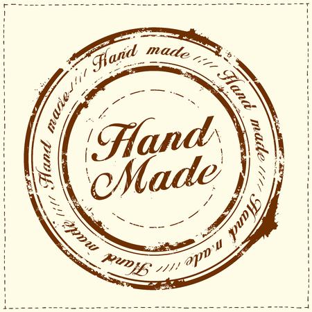 Hand made stamp imprint, stitches frame, vector illustration Ilustração