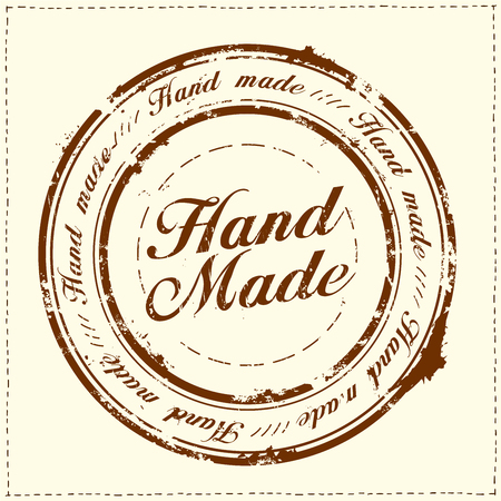 Hand made stamp imprint, stitches frame, vector illustration Stock Photo
