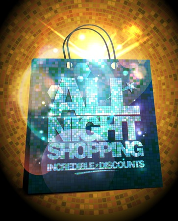 All night shopping sale poster design, incredible discounts banner with gold crystal shopping bag