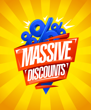 Massive discounts, sale poster design with origami ribbons and percent symbols