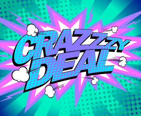 Crazy deal vector banner concept, comics style