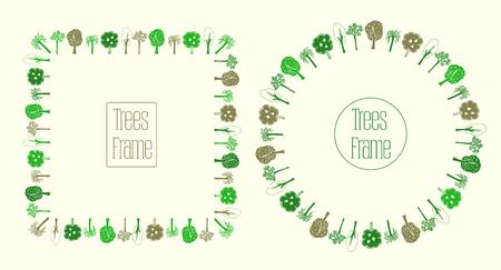 Round and square frames set with trees, hand drawn vector illustration Ilustração