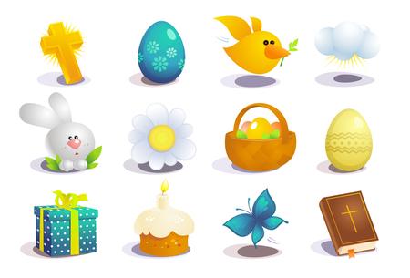 Colección de símbolos tradicionales de Pascua, conjunto de iconos de vector de vacaciones