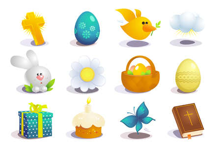 Easter traditional symbols collection, holiday vector icons set