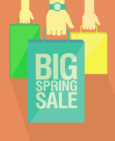 Big spring sale flat vector poster design, hands with paper shopping bags, vintage bleached colours