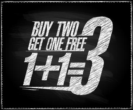 1+1=3 sale banner design, buy two get one free, school sale blackboard chalk poster concept