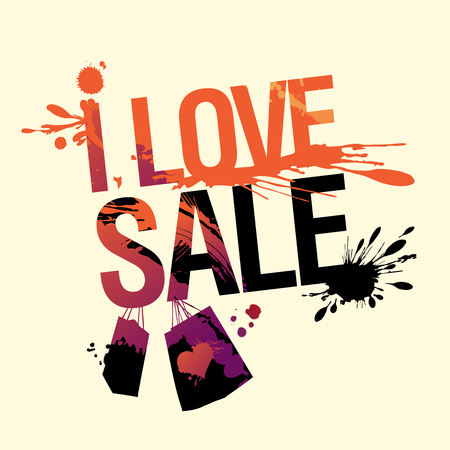 I love sale, vector discount banner with splashes and blots