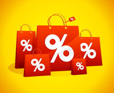 Discounts sale poster with red paper shopping bags and percent symbols against vibrant yellow backdrop