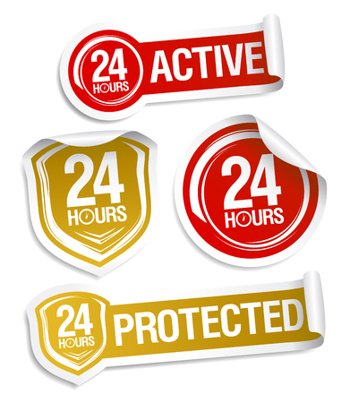 24 hours active and 24 hours protected, vector stickers set