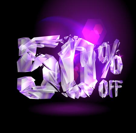 50 % off sale banner concept with broken violet crystals