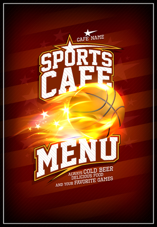 Sports cafe menu card concept with fiery basketball ball and striped backdrop
