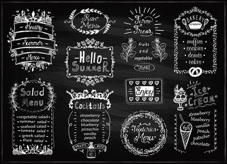 Summer menu, farm fresh, cocktails, salads, bakery, raw and vegetarian menu. Blackboard chalk menu list designs set for cafe or restaurant. Ilustração