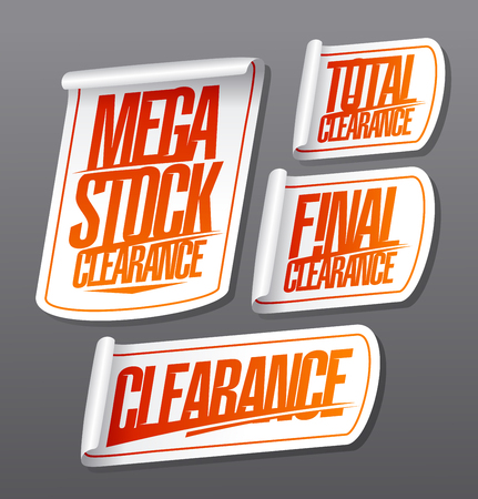Mega stock clearance, total and final clearance, sale stickers set illustration
