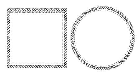 Set di cornici scarabocchiate semplici, stile marino con corde. Cornici vuote quadrate e rotonde.