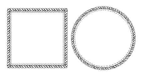 Simple doodle frames set, marine style with ropes. Square and round empty frames.