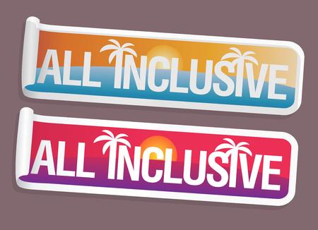 All inclusive stickers set, travel symbols concept