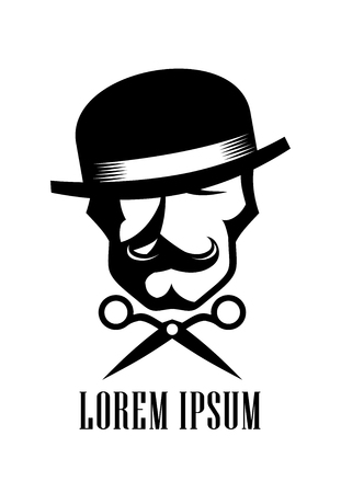 Barber man logo design concept, scissors and hipster man dressed in bowler hat with a mustache sign