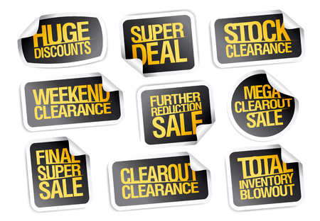 Sale stickers collection - huge discounts, super deal, stock clearance, weekend clearance etc. 版權商用圖片 - 122593694