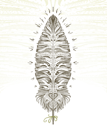 Feather ornamental art symbol, hand drawn graphic illustration