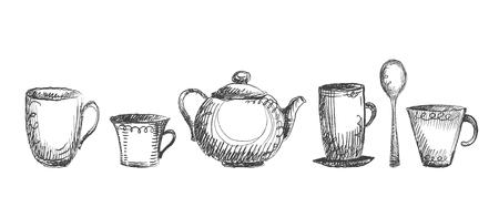 Tea utensils, hand drawn set symbols, rough lines