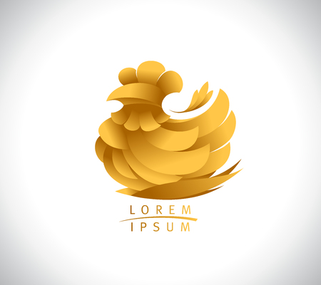 Concetto di logo di gallina, simbolo di vettore di pollo dorato Logo