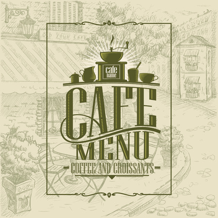 Retro style cafe menu cover design concept, coffee and croissants, vintage style graphic cafe exterior backdrop