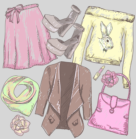 Fashion hand drawn sketch of a jacket, skirt, bag, lipstick, shoes and sweatshirt with rabbit print